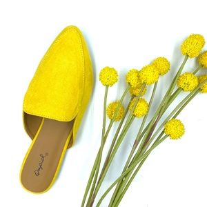 NWT Yellow Sungold Mules - Rounded Toe Faux Suede